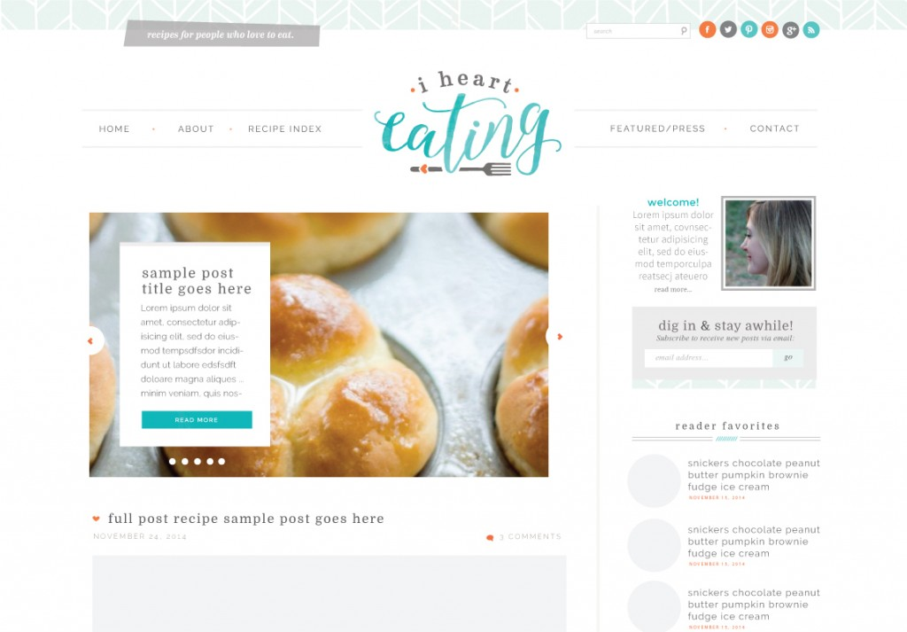 Custom Wordpress Design for I Heart Eating by Melissa Rose Design