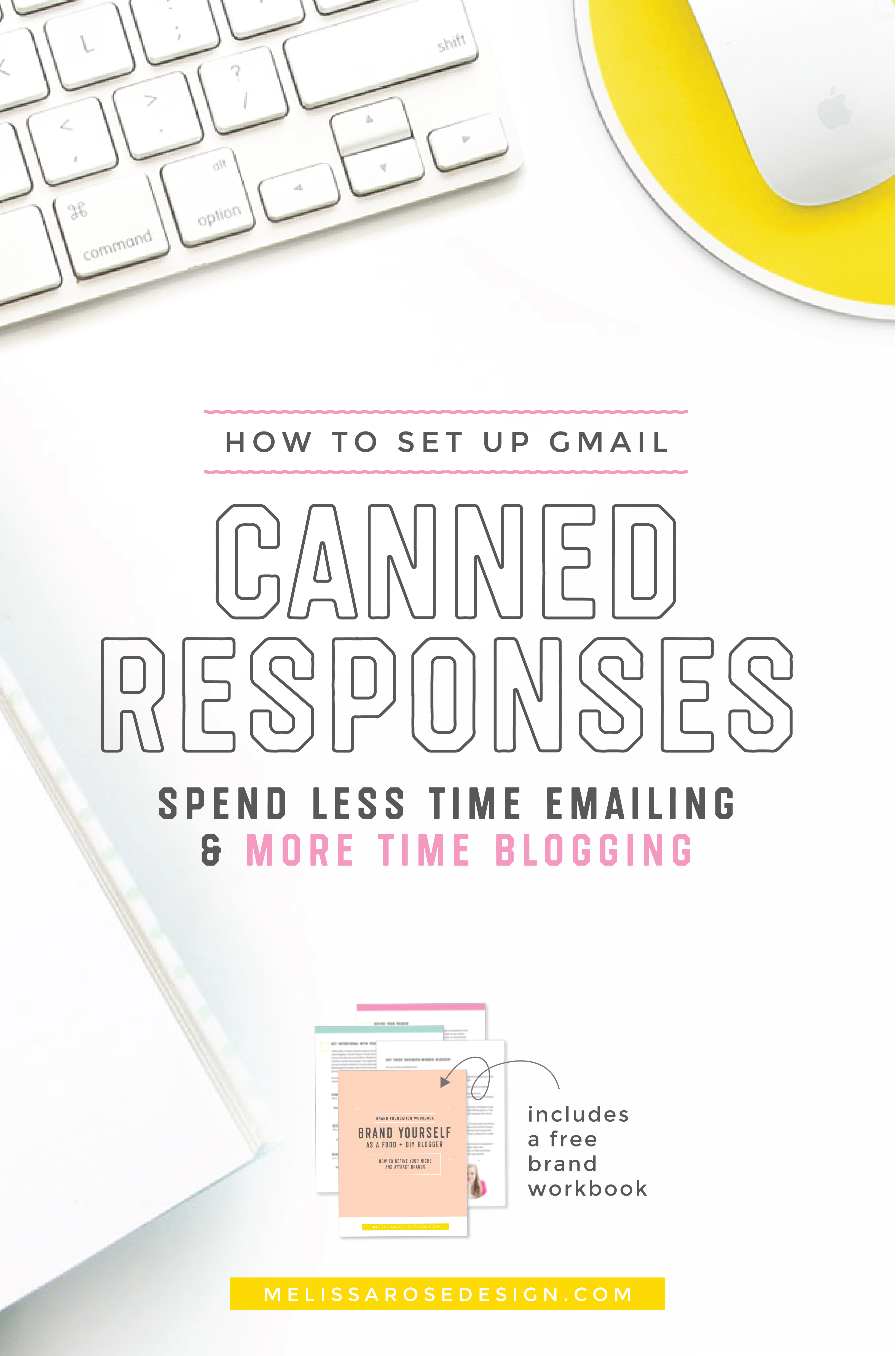 Spend less time emailing & more time blogging by setting up canned responses for emails you send often. Read the post for a step-by-step guide for setting it up in Gmail. | #Blogging #FoodBlog | melissarosedesign.com